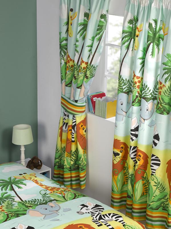 Dieren jungle gordijnen kant en klaar 168x183cm leeuw olifant aapjes - Gordijnen kinderkamer ...