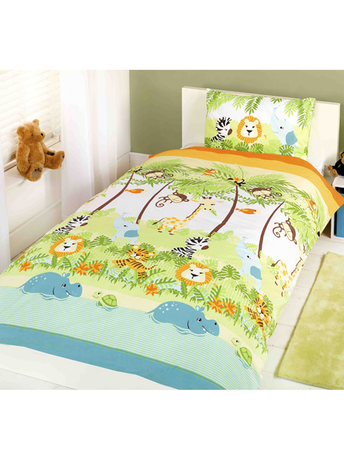 kinderdekbedovertrek jungle eenpersoons set dekbed overtrek jungle. Black Bedroom Furniture Sets. Home Design Ideas