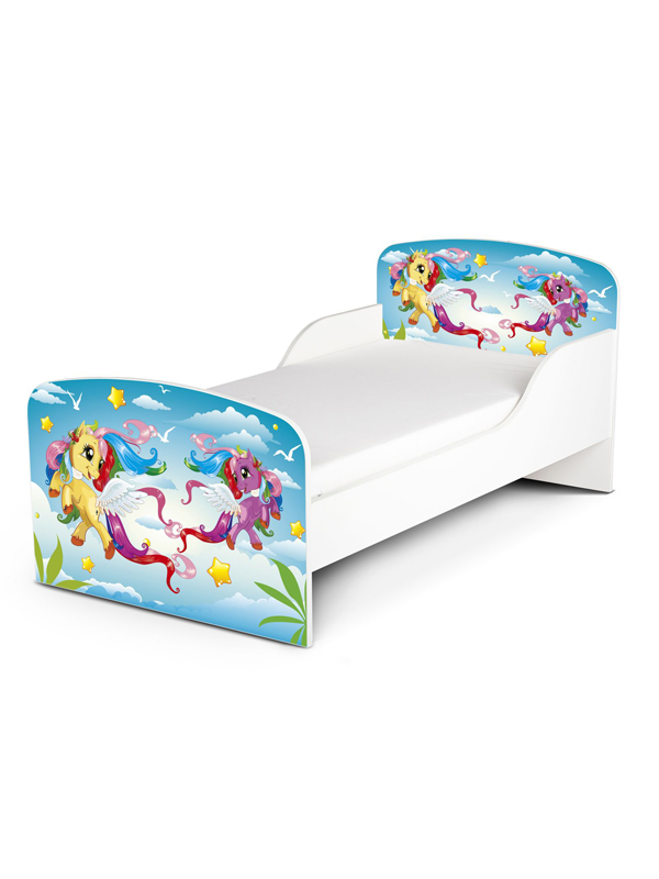 | Houten Junior bed, Peuterbed | MY LITTLE PONY | WIT | PAARDEN