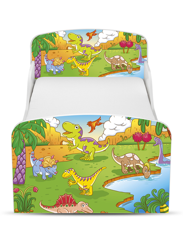 | Houten Junior bed, Peuterbed | DINOSAURUS | WIT