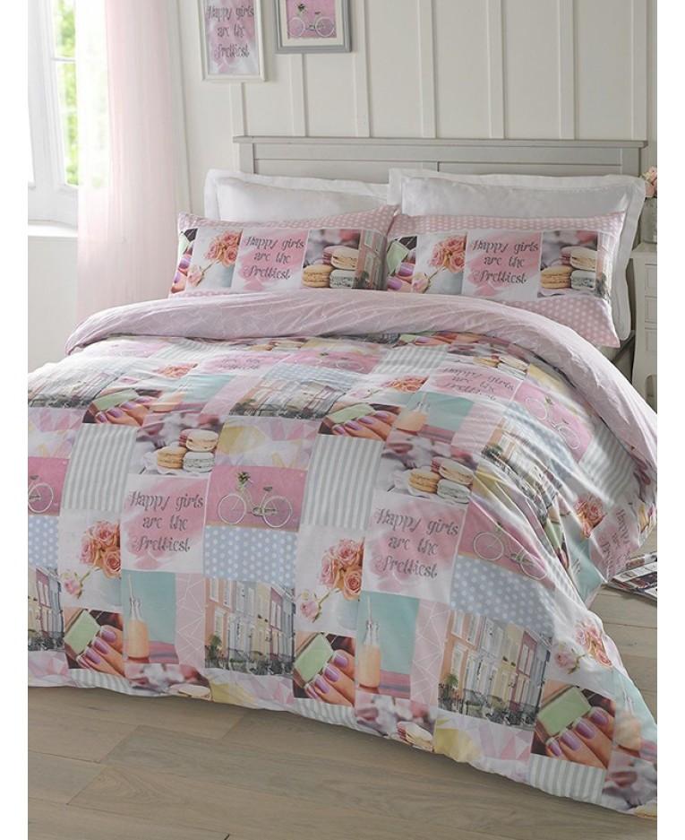 Roze patchwork dekbedovertrek eenpersoons tiener set shabby chique - Shabby chique kamer ...