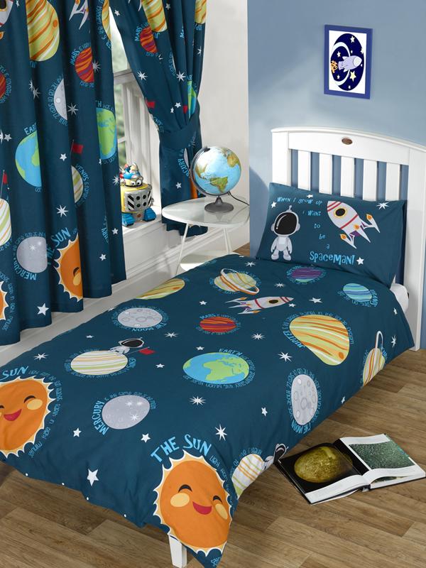 Ruimtevaart dekbedovertrek junior dekbed hoes ruimte dekbed overtrek jongens space - Kinderkamer ruimte ...