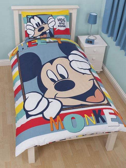 Mickey Mouse Dekbedovertrek   Eenpersoons set   Dekbed Overtrek Mickey Mouse Goofy
