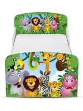 Houten Junior Kinderbed, Peuterbed | JUNGLE DIEREN | WIT