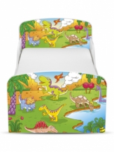 Houten Junior bed, Peuterbed | DINOSAURUS | WIT