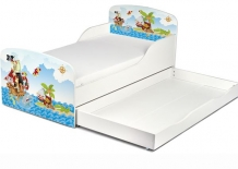 Houten Junior Kinderbed, Peuterbed | PIRATEN DIEREN | WIT | INCL