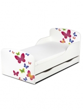 Houten Junior Kinderbed, Peuterbed | VLINDERS| WIT | INCL