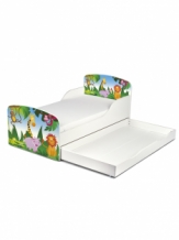 Houten Junior Kinderbed, Peuterbed | JUNGLE DIEREN 2 | WIT | INC