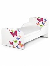 Houten Junior bed, Peuterbed | Vlinders | WIT