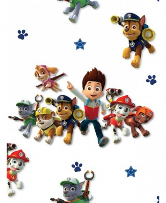 Paw Patrol Behang - wit
